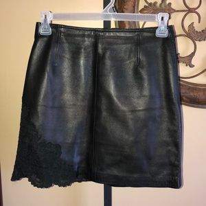Vintage Gianni Versace black leather w/lace skirt